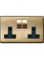 Heritage Brass Studio 2 Gang Double Socket with Black Insert in Antique Brass